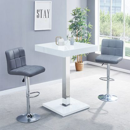 An Image of Topaz Glass Bar Table In White Gloss With 2 Coco Grey Stools