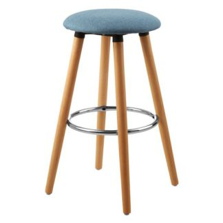 An Image of Porrima Fabric Round Seat Bar Stool In Blue