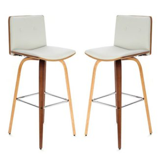 An Image of Savial White Faux Leather Bar Chairs With Arms In Pair