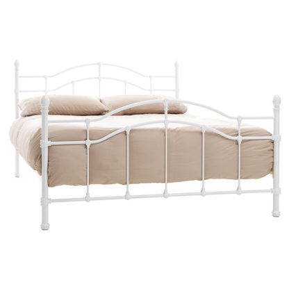 An Image of Paris Metal Small Double Bed In White Gloss