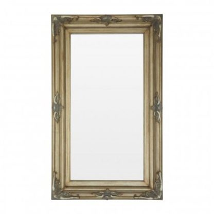 An Image of Saran Rectangular Wall Bedroom Mirror In Antique Gold Frame