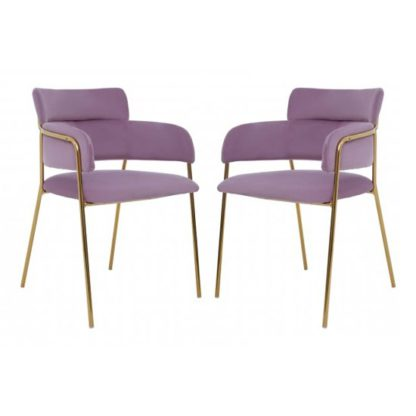 An Image of Tamzo Pink Velvet Dining Chairs And Gold Legs In Pair