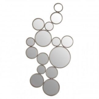 An Image of Zaria Large Multi Circle Wall Bedroom Mirror In Silver Frame