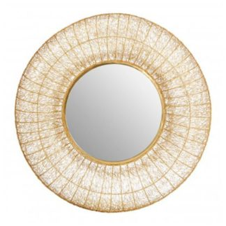 An Image of Templars Mesh Effect Wall Bedroom Mirror In Warm Gold Frame