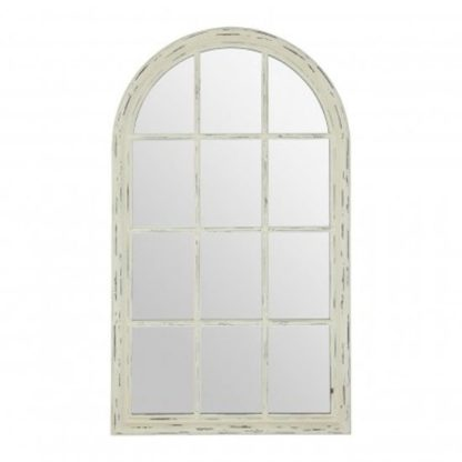 An Image of Staci Window Design Wall Mirror In Weathered Natural Frame