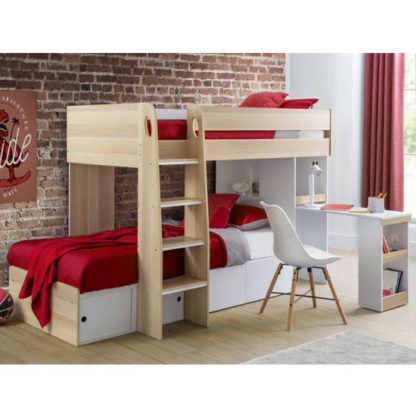 An Image of Eclipse Wooden Bunk Bed In Scandinavian Oak And White