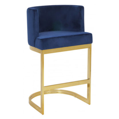 An Image of Lauro Blue Velvet Bar Chair With Gold Stainless Steel Legs