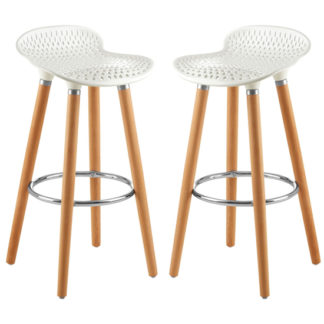 An Image of Porrima Matte White Plastic Seat Bar Stools In Pair