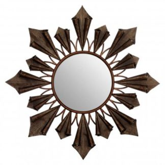 An Image of Varian Sunburst Wall Bedroom Mirror In Antique Gold Frame