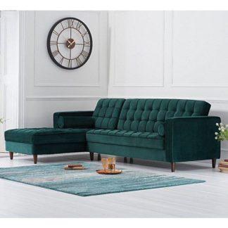 An Image of Centaurus Left Handed Velvet Sofa Bed In Green