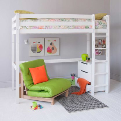 An Image of Buddy Childrens Beech Highsleeper Loft Bed With Chest of Drawers and Futon Chair Bed