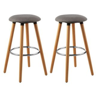 An Image of Porrima Grey Fabric Round Seat Bar Stools In Pair