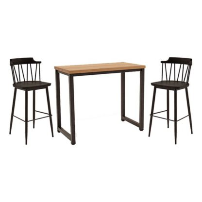 An Image of Hinrik Wooden Bar Table With 2 Blake Bar Stools In Black Elm