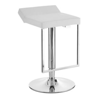An Image of Ceko White Leather Seat Gas Lift Bar Stool With Chrome Base