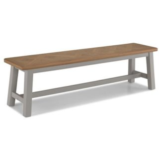 An Image of Sunburst Wooden Dining Bench In Grey And Solid Oak