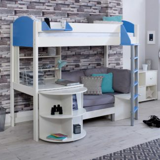 An Image of Nova E Childrens Highsleeper Bed with pull out Desk, Bookcase and Futon