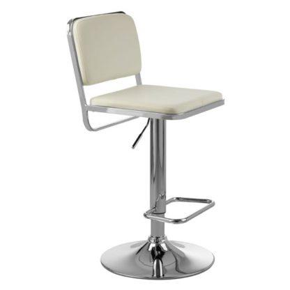An Image of Porrima White Leather Seat And Chrome Base Bar Stool