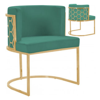 An Image of Meta Green Velvet Dining Chairs In Pair With Gold Legs