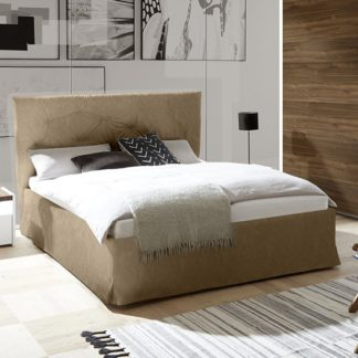 An Image of Civico Faux Leather Storage Double Bed In Tobacco Effect