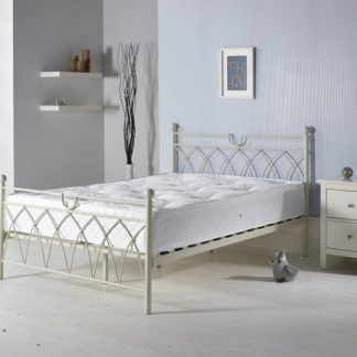 An Image of Dales Contemporary Double Bed In Cream Metal