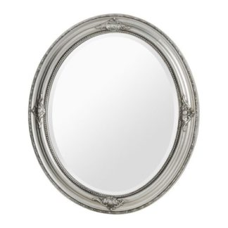An Image of Rustin Oval Vintage Design Wall Bedroom Mirror In Silver Frame