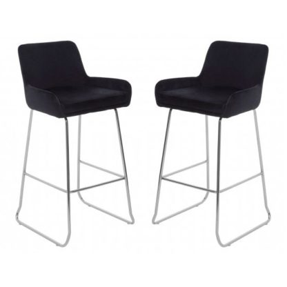 An Image of Tamzo Black Velvet Upholstered Bar Chair With Low Arms In Pair
