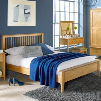 An Image of Courbet Wooden Double Low Foot Bed In Light Solid Oak