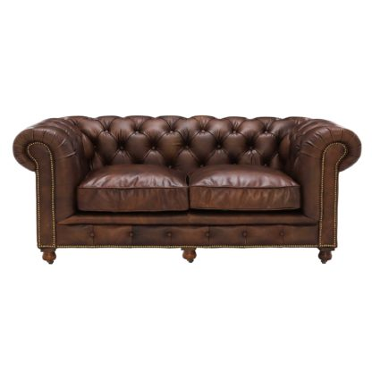 An Image of Asquith Leather 2.5 Seater Chesterfield Sofa
