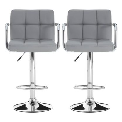 An Image of Stocam Grey Faux Leather Gas Lift Bar Stools In Pair