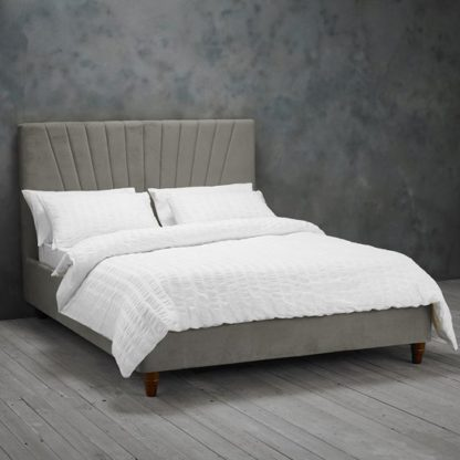An Image of Lexie Double Fabric Bed In Silver