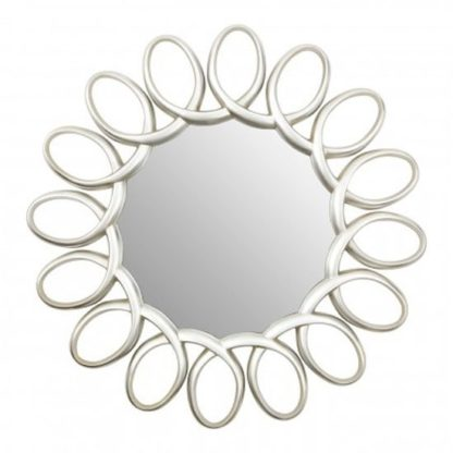 An Image of Saltier Floral Design Wall Bedroom Mirror In Silver Pewter Frame
