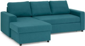 An Image of Aidian Corner Storage Sofa Bed, Mineral Blue
