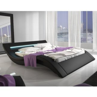 An Image of Nieuwolda PVC Double Bed In Black With LED Light