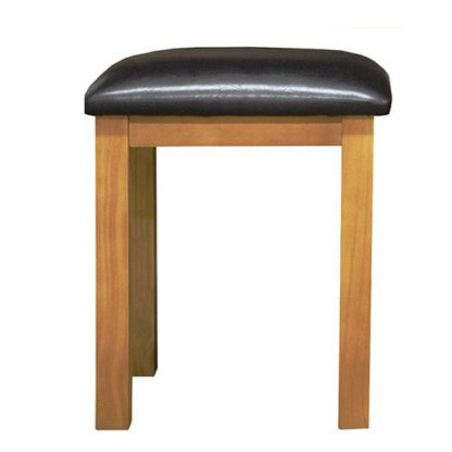 An Image of Cyprian Wooden Dressing Table Stool In Chunky Pine