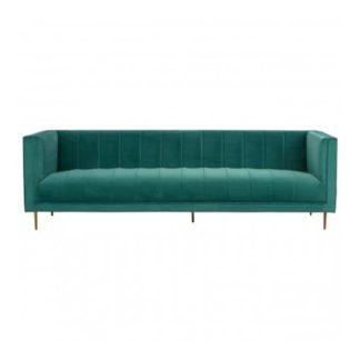 An Image of Otyliya 3 Seater Velvet Sofa In Green