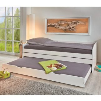 An Image of Copenhagen Contemporary Wooden Triple Bed In White