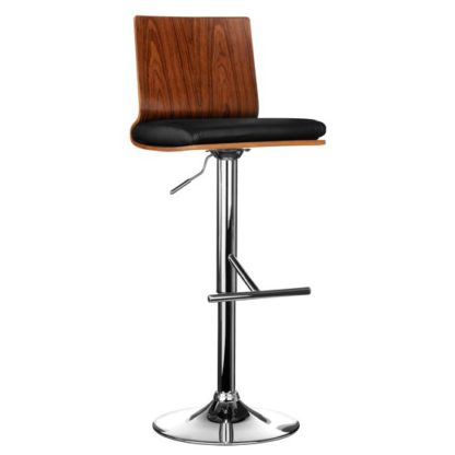 An Image of Savial Faux Leather Seat Bar Stool In Black And Walnut