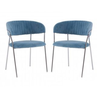 An Image of Tamzo Blue Velvet Upholstered Dining Chairs In Pair