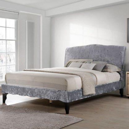 An Image of Orbit Fabric Double Bed In Dark Grey Crushed Velvet