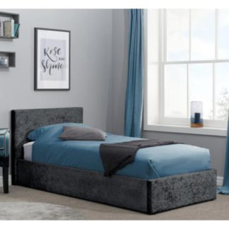 An Image of Berlin Fabric Ottoman Single Bed In Black Crushed Velvet