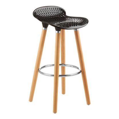 An Image of Porrima Plastic Seat Bar Stool In Matte Black