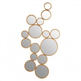 An Image of Zaria Small Multi Circle Wall Bedroom Mirror In Gold Frame