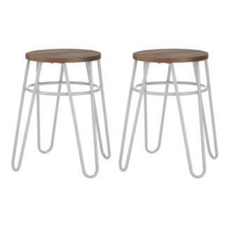 An Image of Pherkad Wooden Hairpin Stools With Grey Metal Legs In Pair