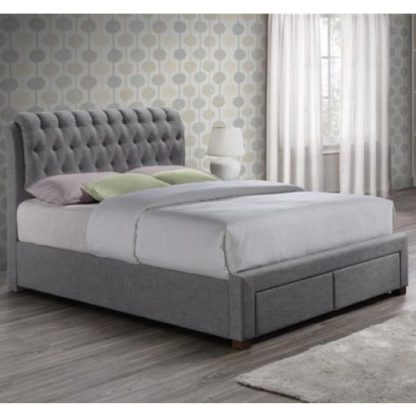 An Image of Valentino Fabric Double Bed In Grey With 2 Drawers