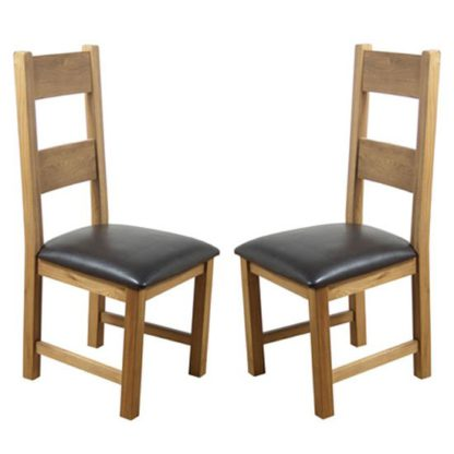 An Image of Hampshire Oak Dining Chairs With Padded Seat In A Pair