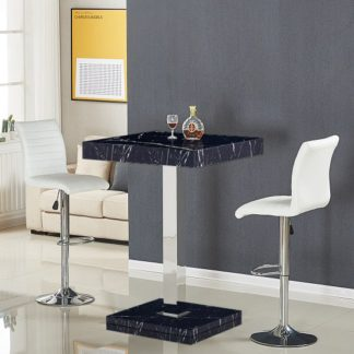 An Image of Topaz Gloss Black Milano Effect Bar Table 2 Ripple White Stools