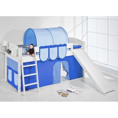 An Image of Lilla Slide Children Bed In White With Blue Curtains