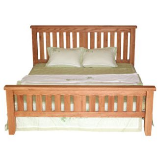An Image of Hampshire Wooden Double Bed In Oak
