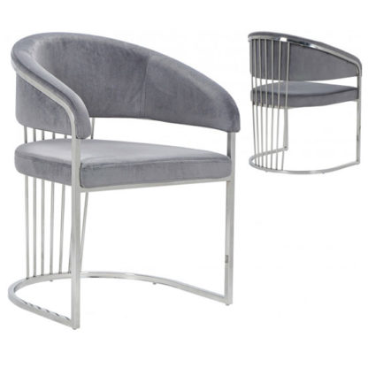 An Image of Longi Grey Velvet Dining Chair In Pair With Silver Legs