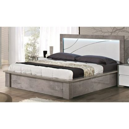 An Image of Namilon LED Wooden Double Bed In White And Grey Marble Effect